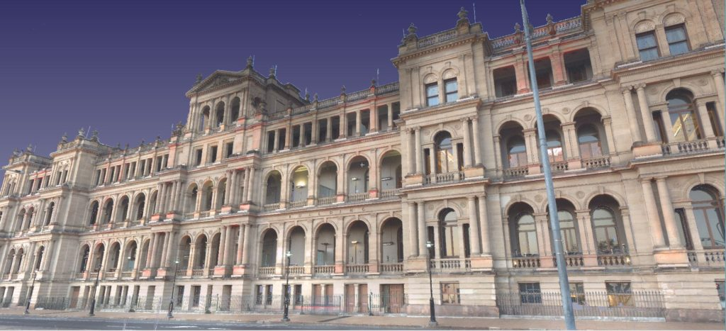 Screenshot of 3D Laser Scan of the Treasurey Building in Brisbane CBD